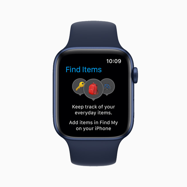 Apple Watch Series 6 上展示新的查找物品 app