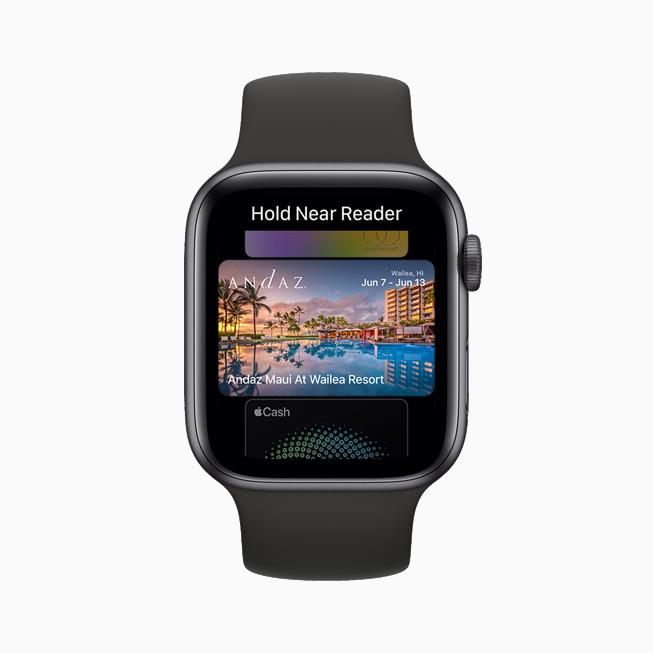 一个夏威夷酒店房间的数字钥匙,在 Apple Watch Series 6 上展示。
