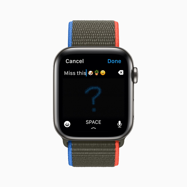 在 Apple Watch Series 6 上展示信息 app 中的一条回复,它是通过随手写编辑的。
