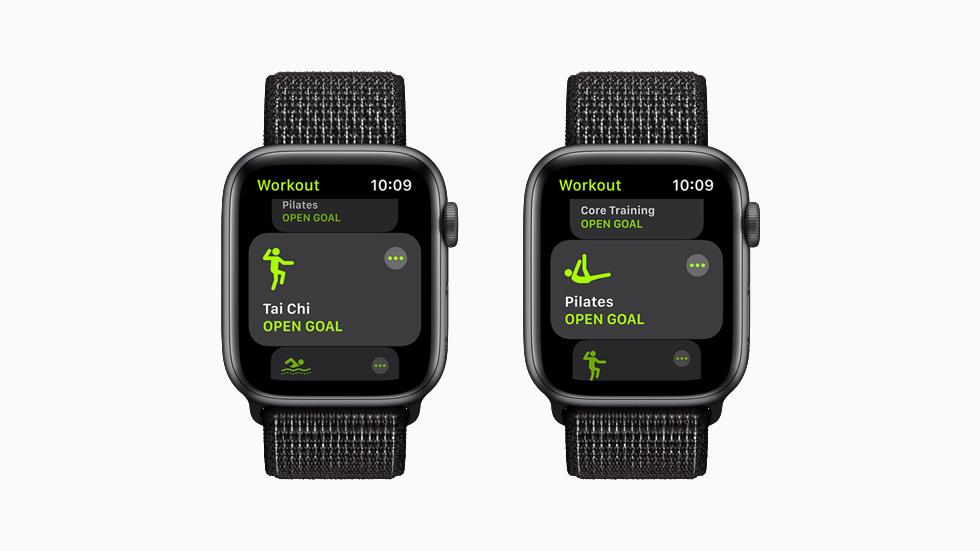 太极和普拉提体能训练,分别在 Apple Watch Series 6 上展示。