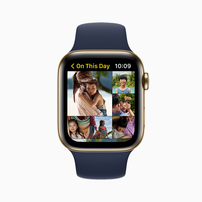 照片 app 中的 On This Day 相簿,在 Apple Watch Series 6 上展示。