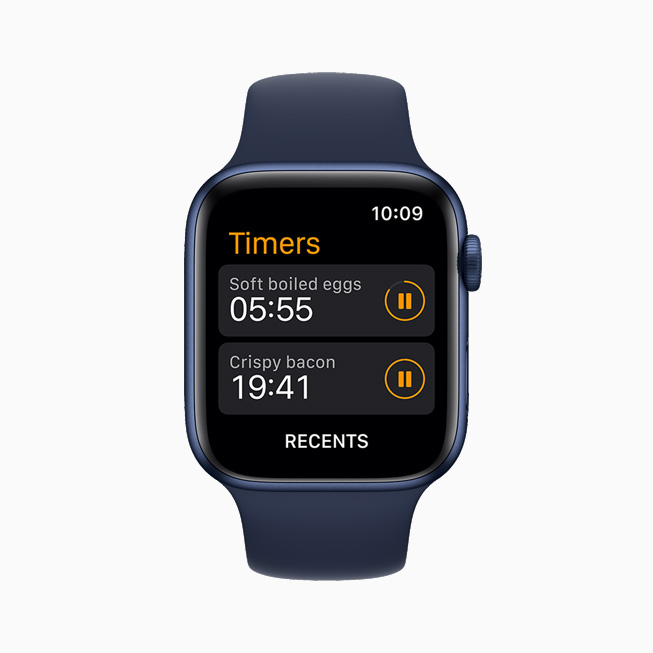 在 Apple Watch Series 6 上展示的自定义计时器。