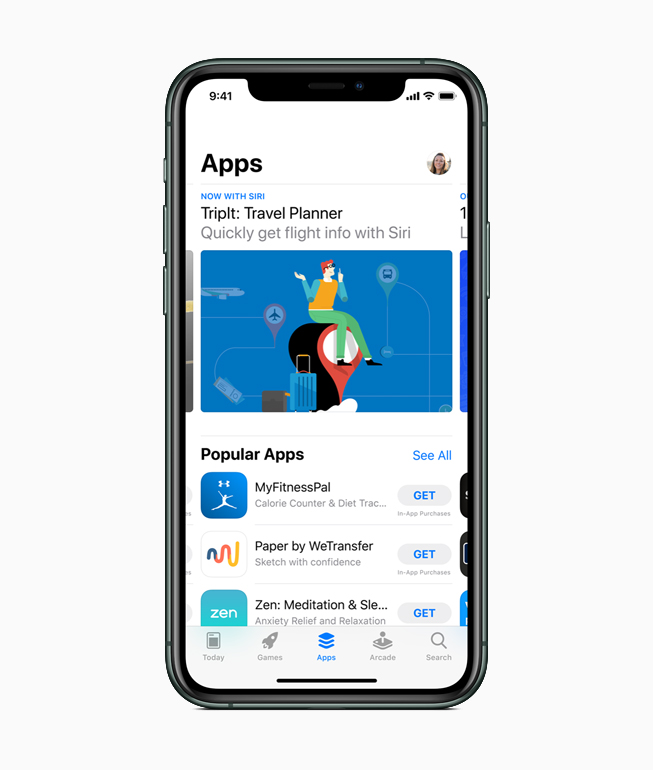 iPhone 上显示有 App Store。