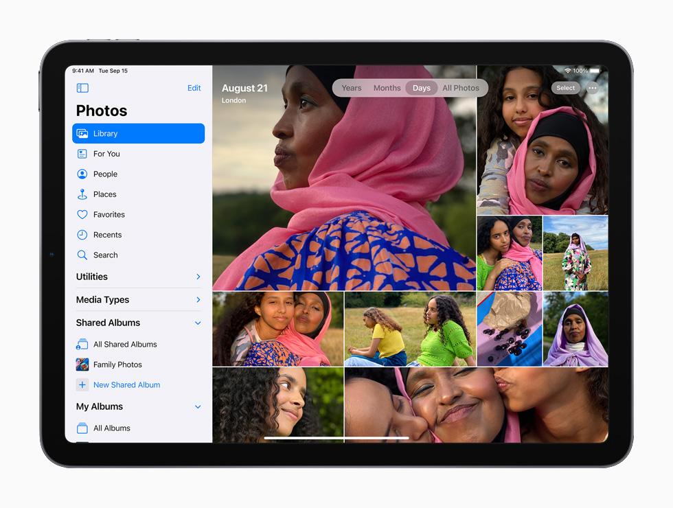 iPad 上的 iCloud 照片。