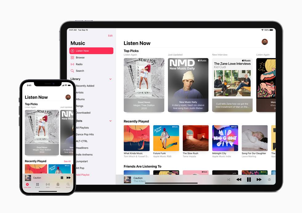 """Apple Music 的""""现在收听""""功能。"""
