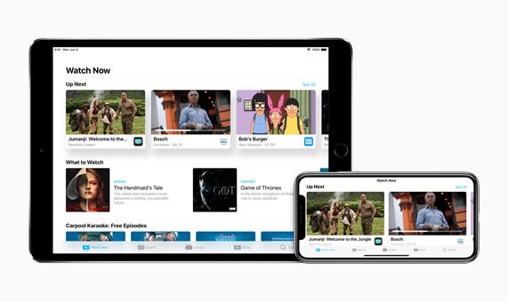 iPad 和 iPhone X 上的 Watch Now app 图片