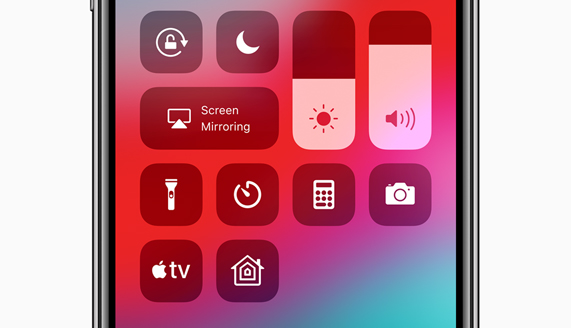Apple iPhone X 屏幕上展示新的 Apple TV 控制中心 widget
