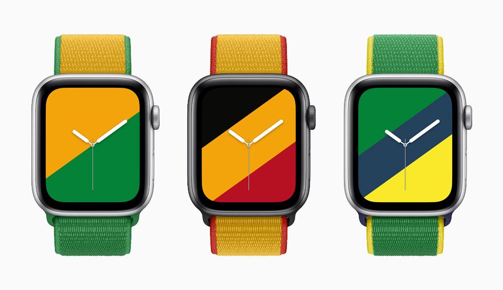 """装有澳大利亚、比利时与巴西国际系列回环式运动表带与配套""""条纹""""表盘的 Apple Watch Series 6。"""