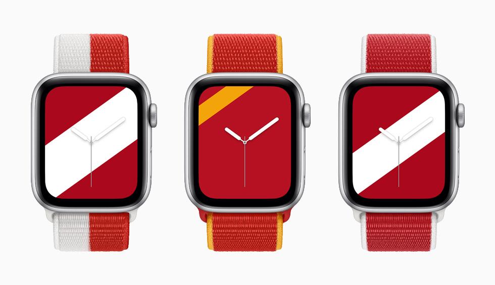"""装有加拿大、中国和丹麦国际系列回环式运动表带与配套""""条纹""""表盘的 Apple Watch Series 6。"""