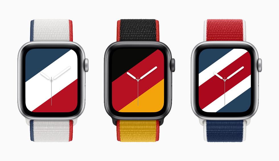 """装有法国、德国和英国国际系列回环式运动表带与配套""""条纹""""表盘的 Apple Watch Series 6。"""