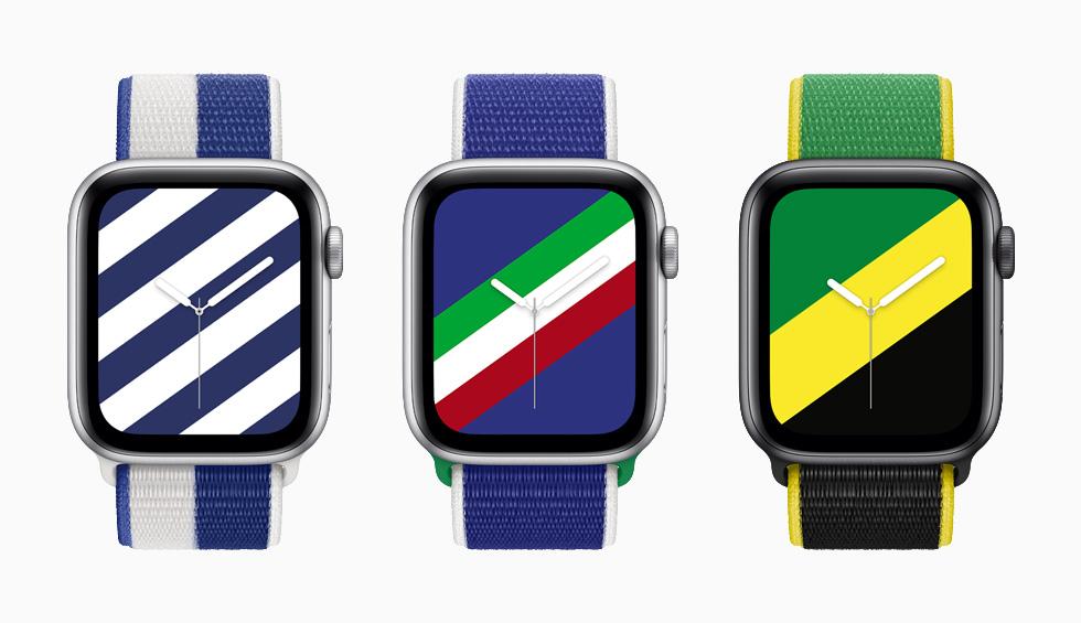 """装有希腊、意大利和牙买加国际系列回环式运动表带与配套""""条纹""""表盘的 Apple Watch Series 6。"""