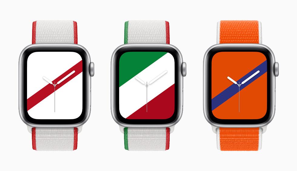 """装有日本、墨西哥和荷兰国际系列回环式运动表带与配套""""条纹""""表盘的 Apple Watch Series 6。"""