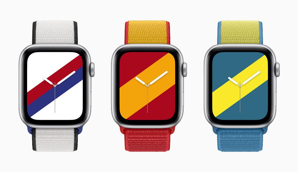 """装有韩国、西班牙和瑞典国际系列回环式运动表带与配套""""条纹""""表盘的 Apple Watch Series 6。"""