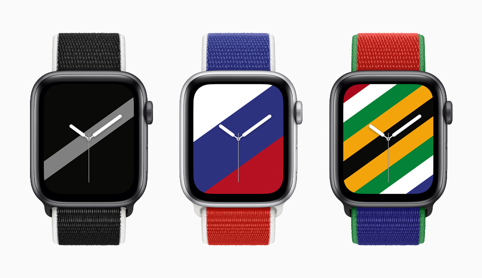 """装有新西兰、俄罗斯和南非国际系列回环式运动表带与配套""""条纹""""表盘的 Apple Watch Series 6。"""