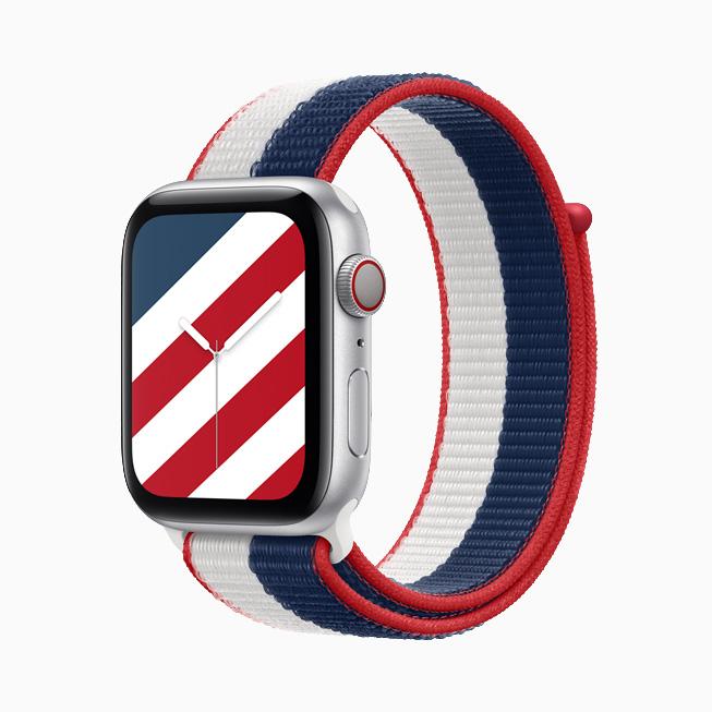 """装有美国国际系列回环式运动表带与配套""""条纹""""表盘的 Apple Watch Series 6。"""