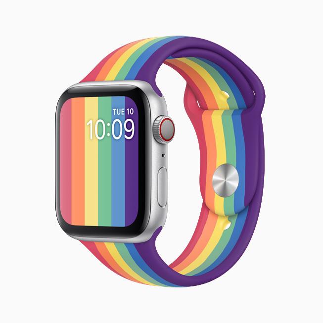 Apple Watch 彩虹版表带和表盘的正面图。