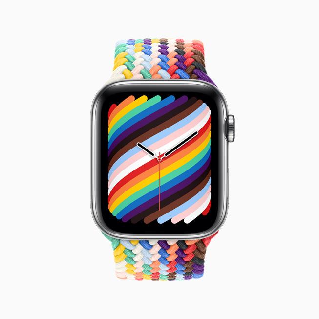 Apple Watch 彩虹版编织单圈表带和彩虹版表盘的正视图。
