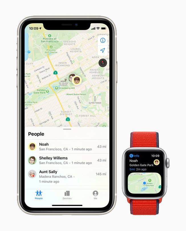 Apple Watch 上的查找联系人 app。