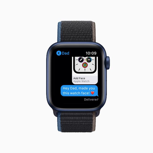 Apple Watch 上信息 app 中的表盘分享功能。