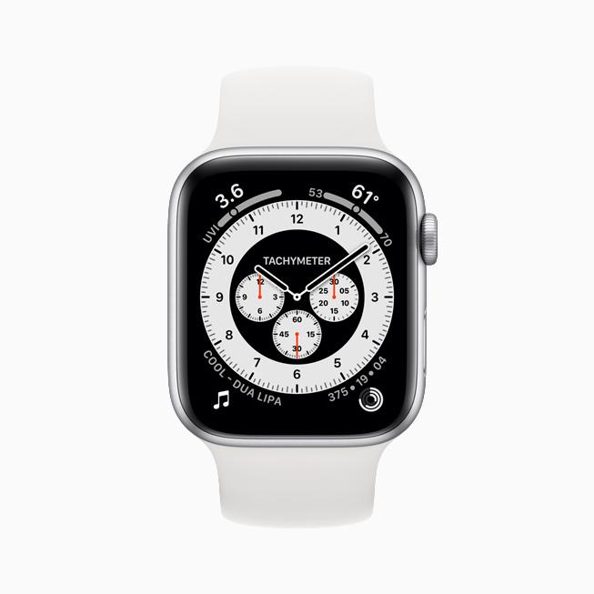 Apple Watch Series 6 上显示的计时码表专业表盘。