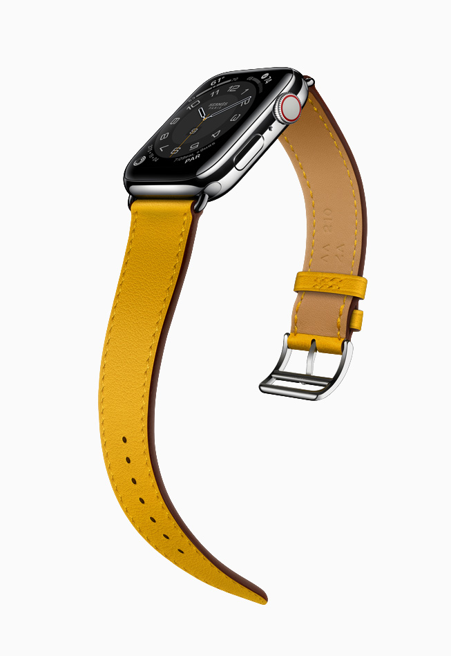 Apple Watch Hermès 搭配琥珀色表带。