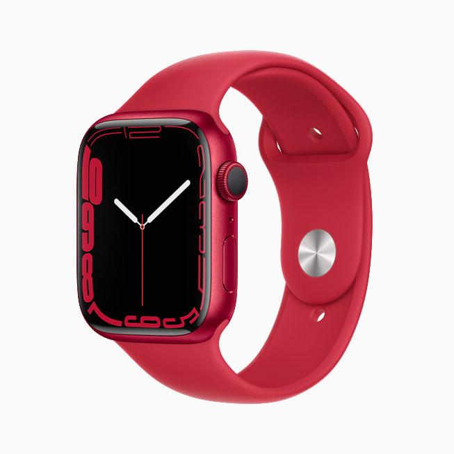 红色铝金属表壳 Apple Watch Series 7 上展示的轮廓表盘。