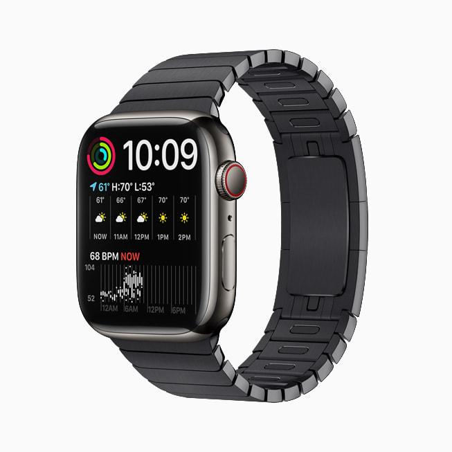 Apple Watch Series 7 上展示的双模块表盘。
