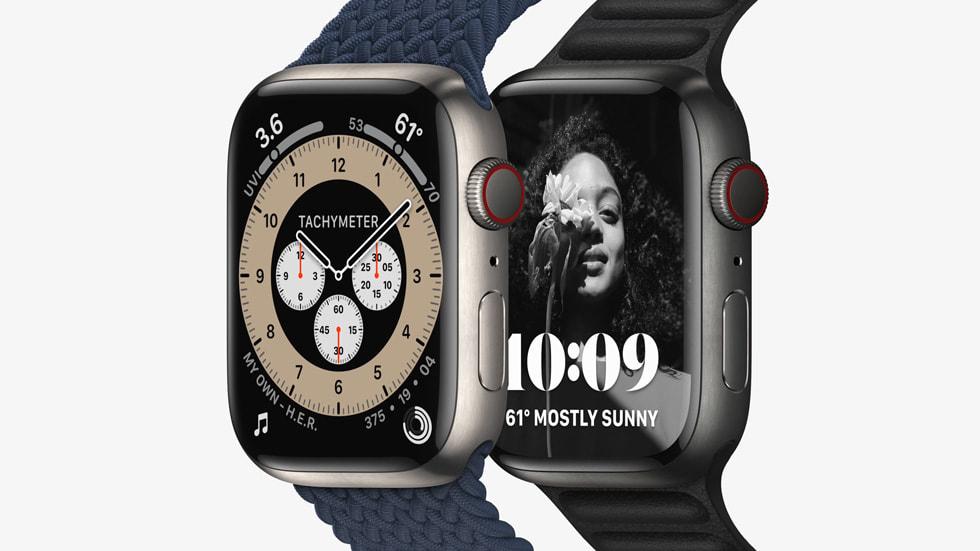 显示全新轮廓表盘的钛金属表壳 Apple Watch Series 7。