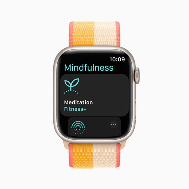 Apple Watch Series 7 上显示的正念 app。