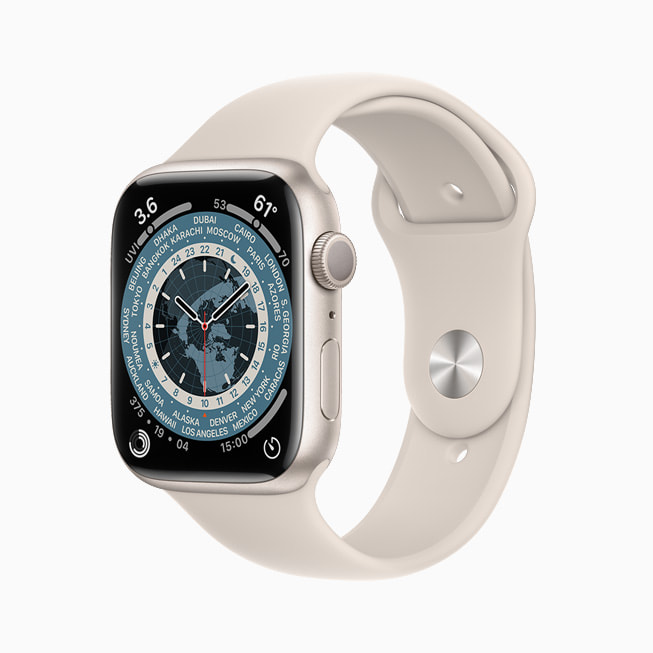 Apple Watch Series 7 上展示的世界时钟表盘。
