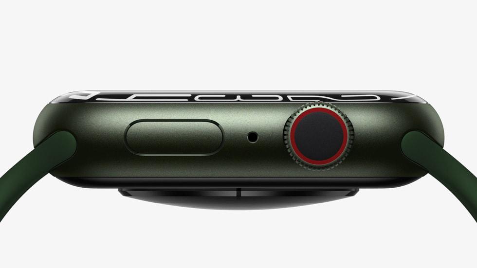 Apple Watch Series 7 表盘侧视图。