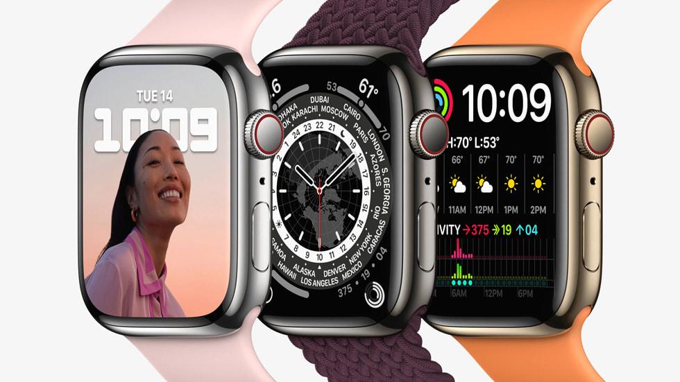 三只 Apple Watch Series 7 在特定角度下的正面与侧面展示。