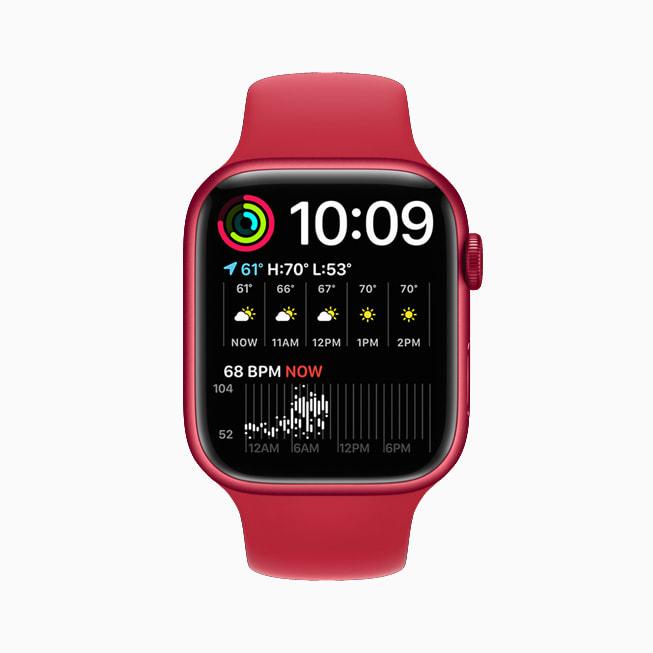展示双模块表盘的 Apple Watch Series 7。