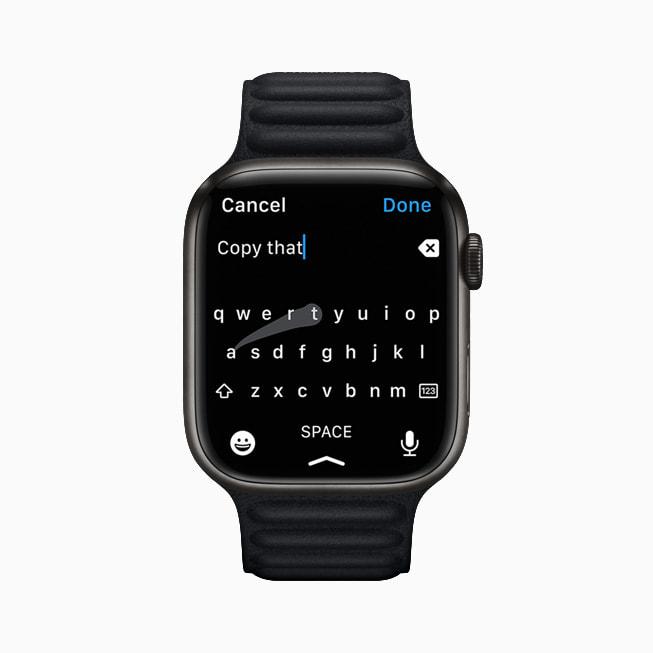 Apple Watch Series 7 的新键盘。