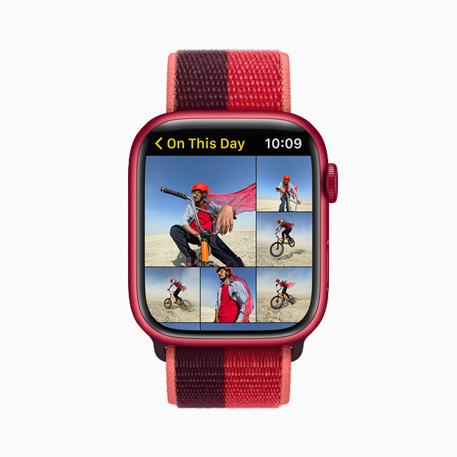 Apple Watch Series 7 显示照片 app。