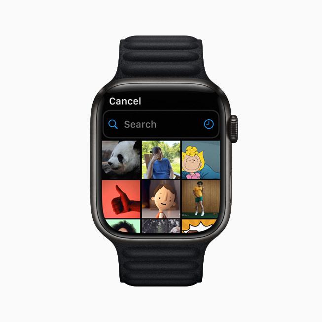 Apple Watch Series 7 展示信息 app 的 GIF 动图选项。