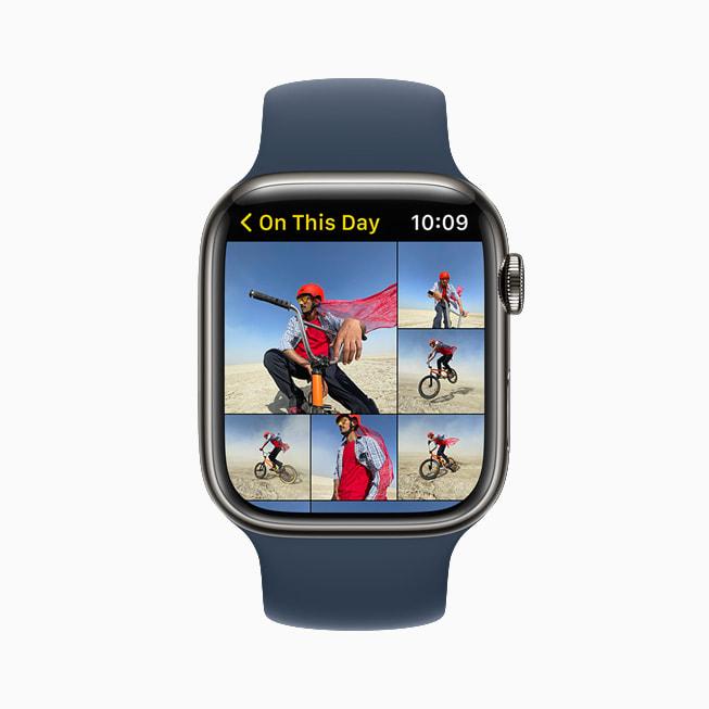 """Apple Watch Series 7 上展示 watchOS 8 的照片 app 中的""""过去的今天""""。"""