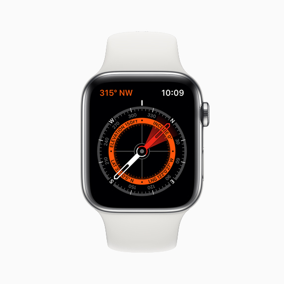 Apple Watch Series 5 上显示的全新指南针 app。