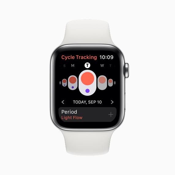 Apple Watch Series 5 上显示的经期跟踪 app。