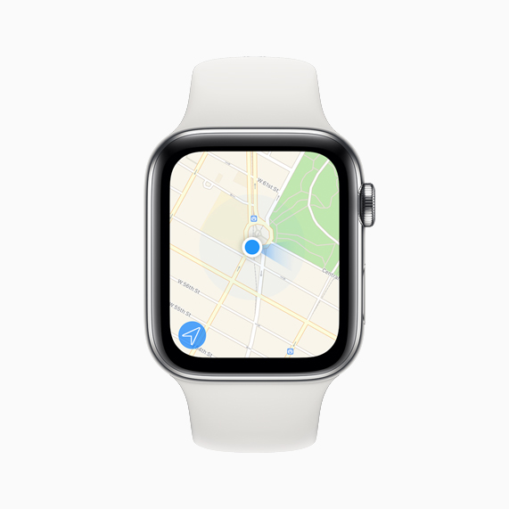 Apple Watch Series 5 上显示的地图 app。