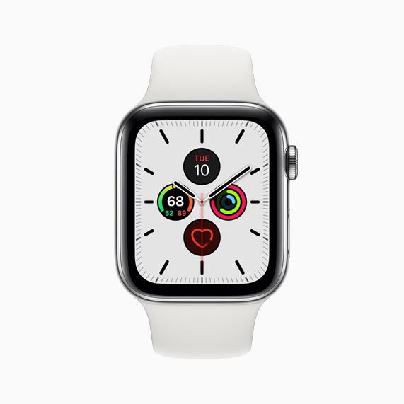 Apple Watch Series 5 上的全新子午线表盘。