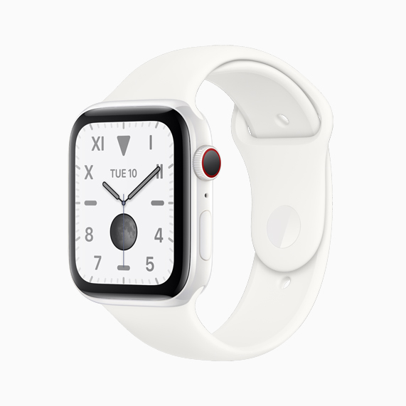 白色精密陶瓷款 Apple Watch Series 5。