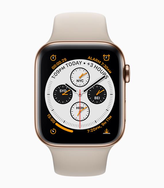 金色不锈钢 Apple Watch 的前视图。