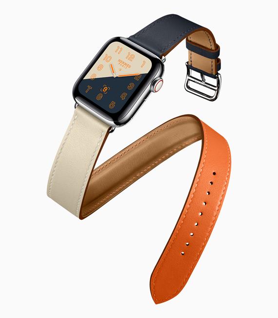 新款 Apple Watch Hermès 外观照,搭配拼色表盘和表带。