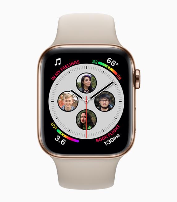 照片上是 Apple Watch Series 4 中优化的复杂功能,其中包括联系人。