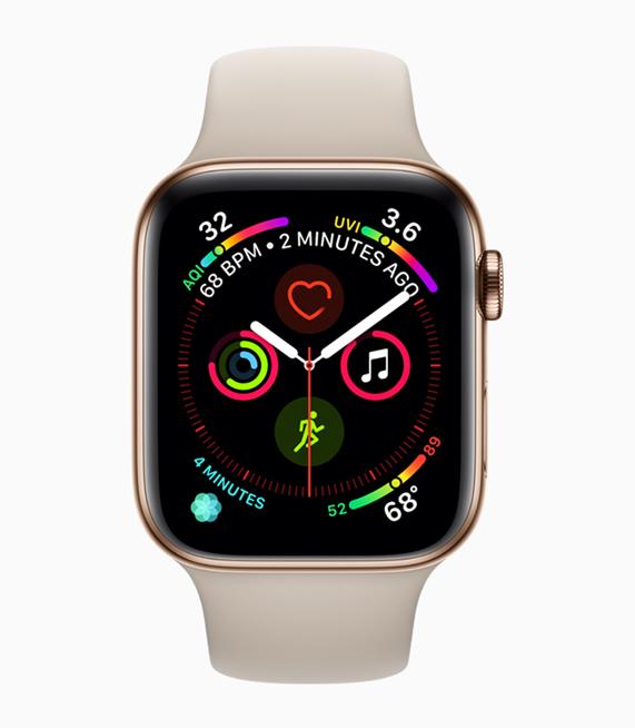 展示 app 图标、按钮和字体更大的 Apple Watch Series 4 显示屏。