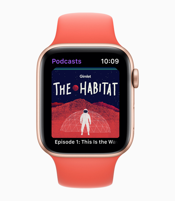 Apple Watch 上《Gimlet's The Habitat》播客快照。