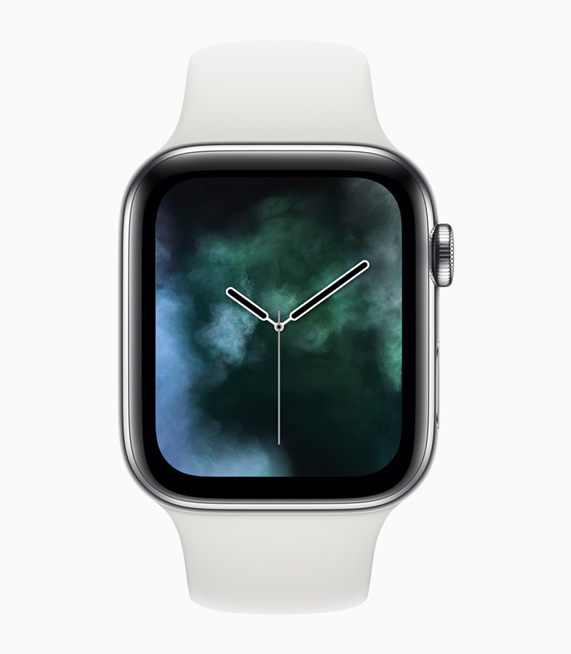 展示全新烟雾元素表盘的 Apple Watch Series 4。