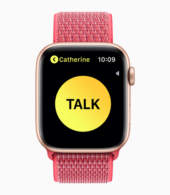 Apple Watch Series 4 上的对讲机4屏幕。