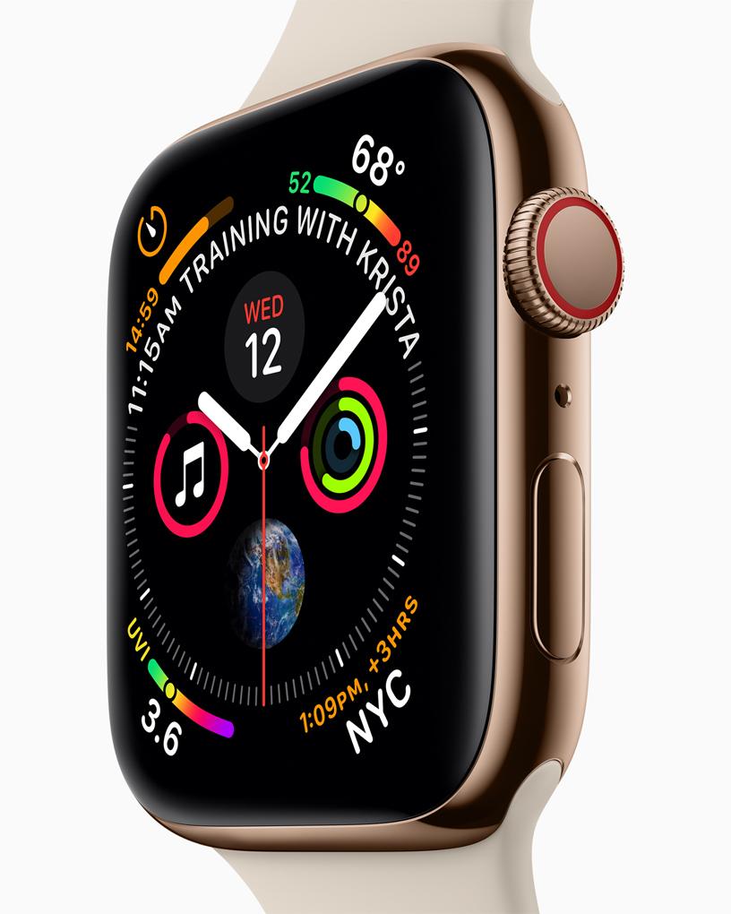 Apple Watch Series 4 表盘和全新数码表冠的镜头特写。